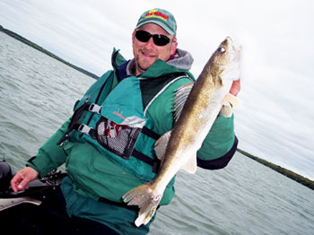 Our guide, Dana Pitt, with a 21-inch walleye that had to be released
