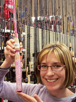"Perhaps this is what I need -- a pink fishing pole called ""Mrs. Walleye."""
