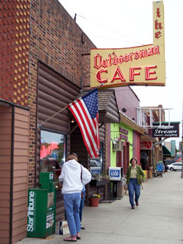 The Outdoorsman Cafe in downtown Walker. Hearty breakfasts for the avid fisherman or woman.