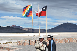 Native Chileans at the lodge built by the Collhuasi mine in Northern Chile.