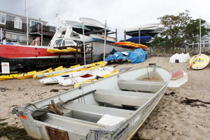 Boats on the beach during the off-season in Provincetown, Massachusetts