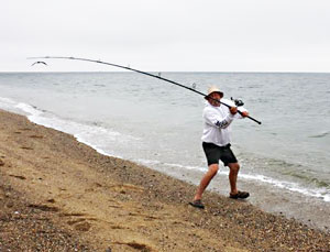 Fishing on the beach in Provincetown, Massachusetts