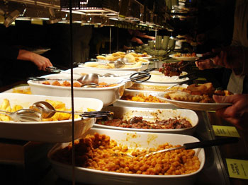 The bountiful buffet at the Hiltl Vegetarian Restaurant in Zurich, Switzerland