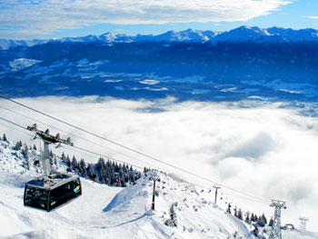 Ascending North Mountain overlooking Innsbruck.