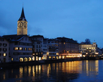 The River Lammat winds through the center of Old Town in Zurich, Switzerland.
