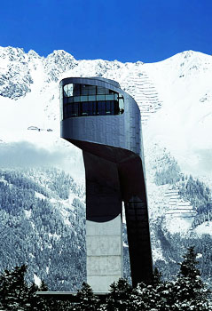 The Bergisel Ski Jump in Innsbruck looks like a the head of a serpent.