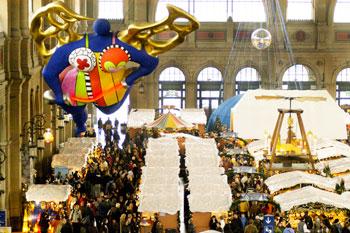 120 Christmas stalls inside the Banhofstrasse train station
