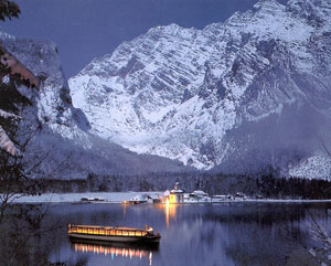 A crystal clear Königssee at night in Bavaria, Germany