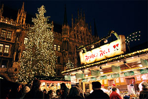 A Christmas market in Germany.