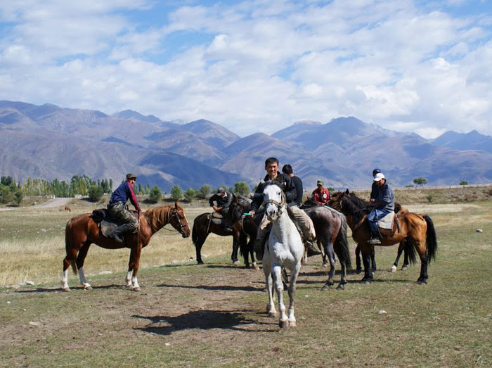 Riders gather before the start of a Dead Goat Polo match in Kyrgyzstan.
