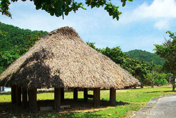 The thatched-roof shrine in Ada Kunigami Okinawa
