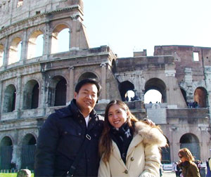 Irene Lim and her husband at the Colosseum in Rome