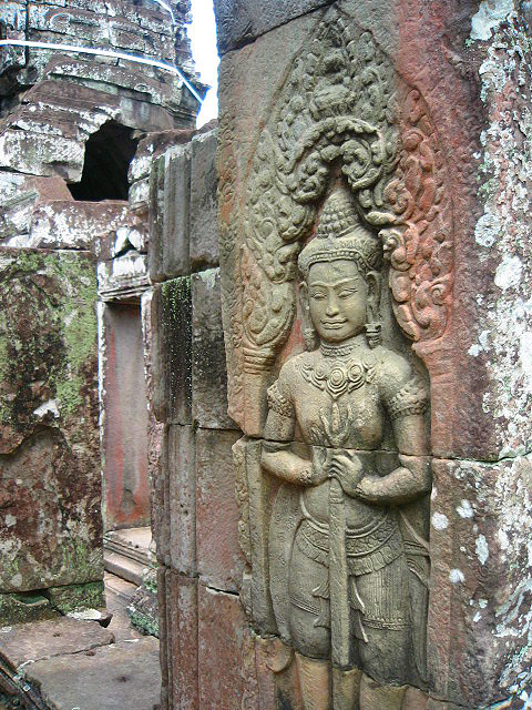 Delicate carvings that have lasted for centuries at Angkor Wat in Siem Reap, Cambodia