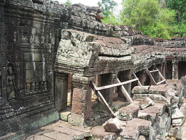Eight-hundred-year-old temple walls ready to collapse at Angkor Wat in Cambodia