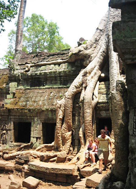 The ruins of Ta Prohm, slowly being destroyed by fig trees in Siem Reap, Cambodia