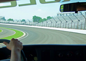 Taking a lap on the track at the Indianapolis Motor Speedway - photos by Richard Bauman