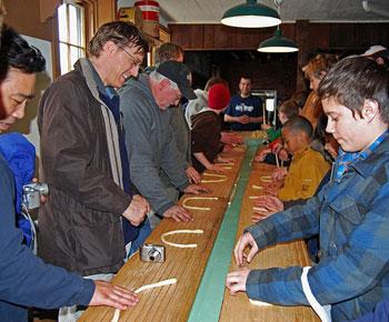 Pretzel-making in full swing inside the Julius Sturgis Pretzel Bakery
