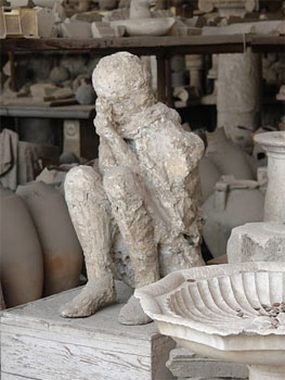 The plaster cast of a young boy, found among the ruins of Pompeii. Laura Stone photos.