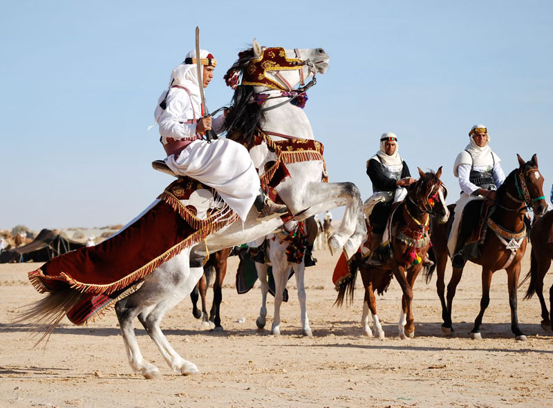 Well-trained horsemen perform at the Festival of the Sahara in Tunisia. Photos by Sony Stark