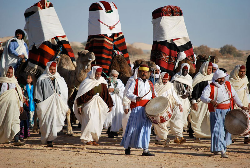 Traditional Bedouin wedding procession marked by the houdach