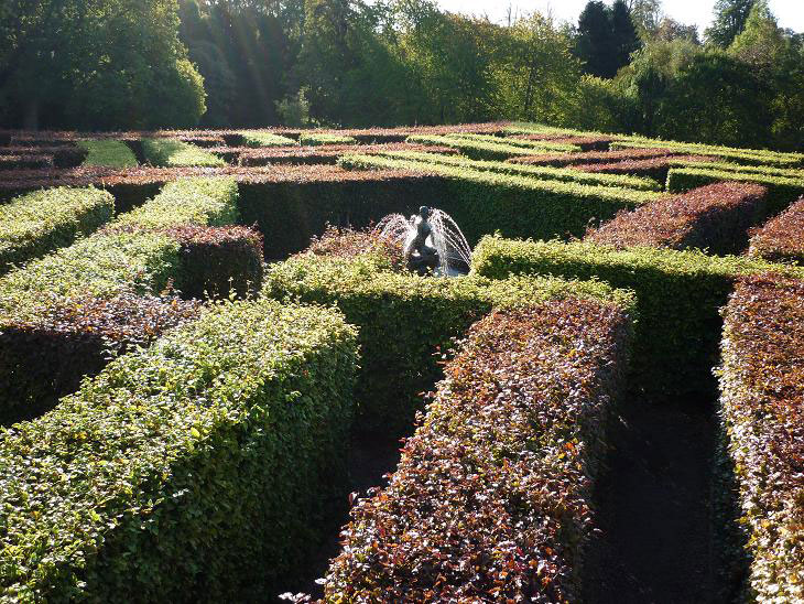 The tartan maze at Scone Palace in Scotland. The Murray Star Maze and water nymph.
