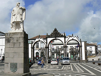 The area which was once part of the harbor in Ponta Delgada, Sao Miguel Azores.