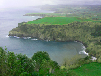 View from the southern coast of Sao Miguel, one of the nine islands that make up the Azores. photos by Max Hartshorne.
