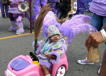 A young Mardi Gras Indian