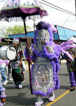 The Mardi Gras Indians parade on Super Sunday.