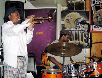 Kermit Ruffins with his band the Barbeque Swingers at Bullet's Sports Bar.