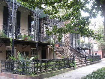 Wrought iron railings surround this typical house in Savannah. photos by Megan Pasche.
