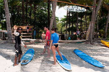 Beach scene at the C&C Surf School, in Playa Samara, Costa Rica. photos by Ben Barnhart.