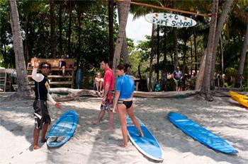 Beach scene at the C&C Surf School, in Playa Samara, Costa Rica. photos by Ben Barnhart.