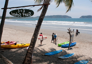 Like many beaches on Costa Rica's west coast, Playa Samara attracts both experienced and novice surfers.