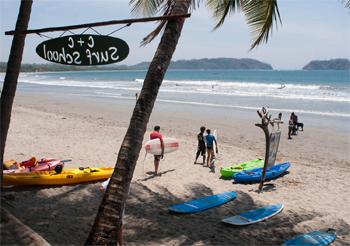 Like many beaches on Costa Rica's west coast, Playa Samara attracts both experienced and novice surfers.