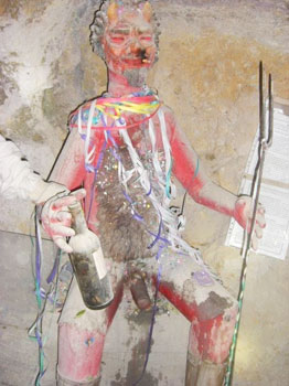 'El Tio' (the Uncle), the patron saint of the mine. Photos by Alexandra Alden