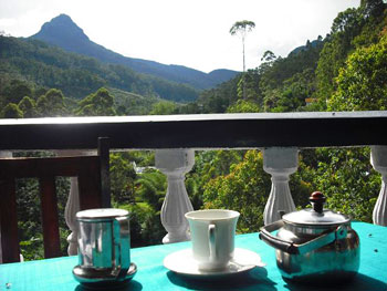 The balcony of the Wathsala Inn in Dalhousie, Sri Lanka, with a view of Sri Pada, also known as Adam's Peak.