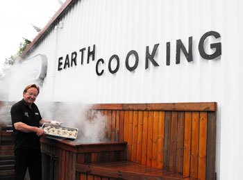 "Mr. Olafur Reynisson, owner of Kjot & Kunst restaurant in Hveragerdi (east of Reykjavik). Mr. Reynisson was nice enough to show me how he pipes hot steam directly from the geothermal fields to this steam cooker. His restaurant also was featured on ""Bizarre Foods with Anthony Zimmern"" on the Travel Channel. Had dinner here, and it was delicious!"