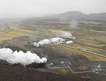 Nesjellir geothermal power plant. Iceland heats almost all homes and water by geothermal power plants like this one. Photos by Jim Reynoldson.