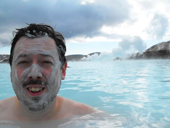 Me with silica on my face at Blue Lagoon (supposed to help reduce aging...we'll see if it works).