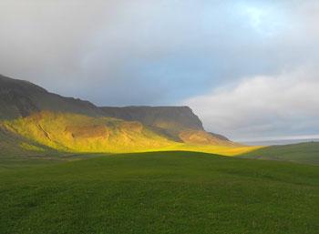 Sun on the cliffs near Vik, Iceland