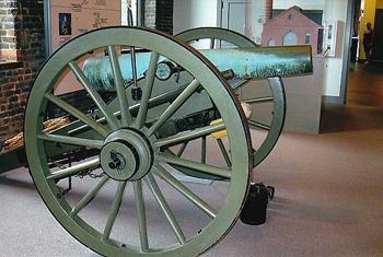 Civil war cannon at the Tredagar Civil War History Center in Richmond.