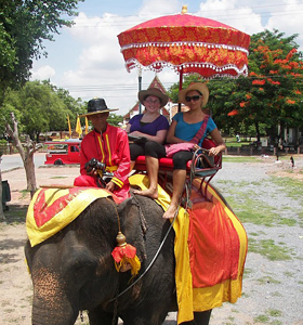Sopha and his friendly Mahout give us a lift.
