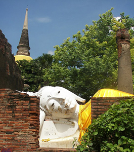 The Reclining Buddha peeks out of his wiharn in Ayutthaya, Thailand.
