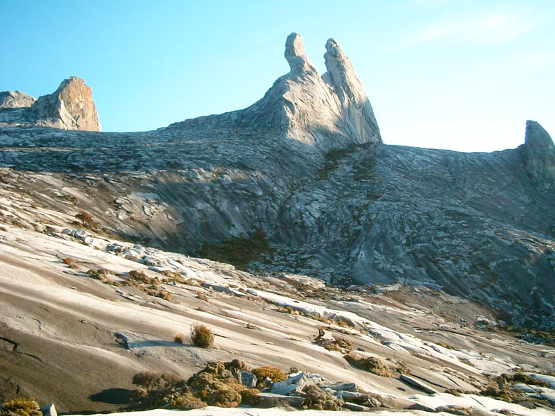 The so-called Donkey's Ears on top of Mount Kinabalu in Borneo