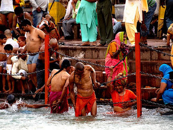 Bathers doing the ritual clense in the dirty Ganges.