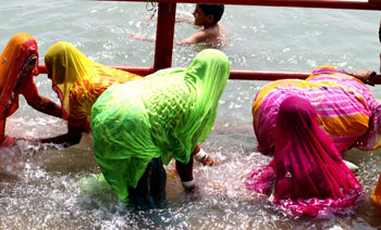 Bathing in the Ganges.