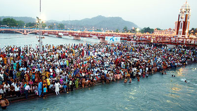 Thousands and thousands of pilgrims come to the Kumbh Mela Festival.