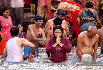 Praying in the Ganges