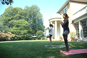 Yoga at the historic mansion, Tudor Place, in Georgetown